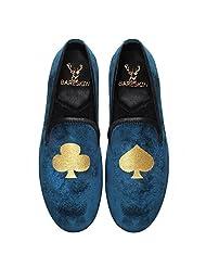 Bareskin Poker Special Mens Handmade Blue Velvet Slipon With Embroidery - Limited Edition