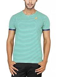 Paani Puri Men's Round Neck Cotton Blended T-Shirt (Green)
