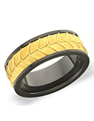 8 Mm Peora Black & Satin Finish IP Gold Plated Tungsten Men's Band With Diagonal Stripes (PTR722)