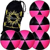 Flames N Games Astrix Uv Thud Juggling Balls Set Of 5 (Black/Pink) Pro 6 Panel Leather Juggling Ball Set & Travel...