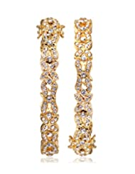 Eclat Brass Gold Plated Bangle Pair For Women New Fashion Jewelry (313035G)