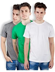 TOMO Men's Cotton Solid Color Round Neck T-shirt Combo Pack Of 3 - B00ZRLN7FC
