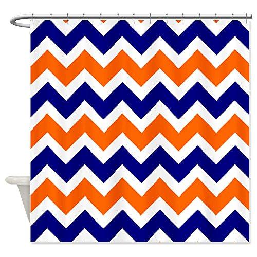Orange Blue Chevron Shower Curtain