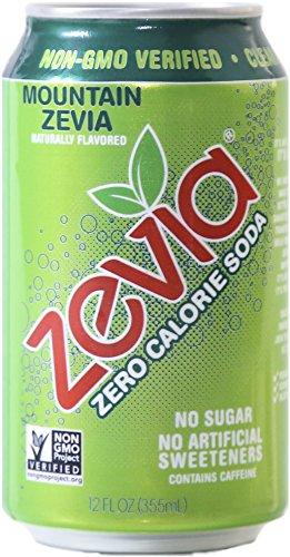 Zevia Zero Calorie Soda, Mountain Zevia, Naturally Sweetened, (Pack of 24)