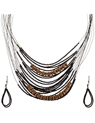 Mask Fashions Silver Metal Brown Beads Necklace For Women
