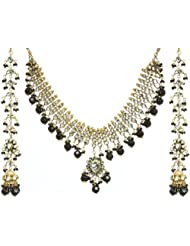 Exotic India Jet Black Kundan Beaded Necklace Set With Earrings - Copper Alloy