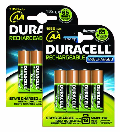 Duracell PreCharged Rechargeable 1950 mAh AA Batteries - 8