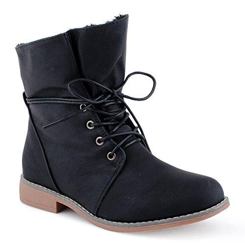 Damen Schnür Boots Stiefeletten Warm Gefüttert Stiefel Schuhe Schwarz/gefüttert EU 41