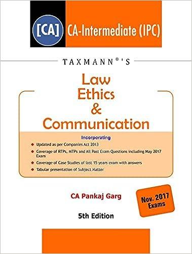 Law Ethics & Communication (CA-IPC) -(November 2017 Exams)