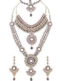 Lucky Jewellery Patwa Antique Alloy Bridal Set For Women (3795-IZP-D119-P)