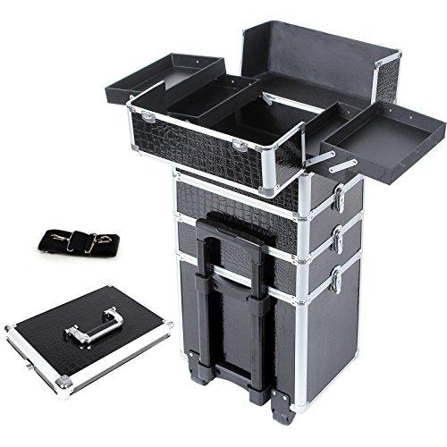 Songmics mallette maquillage trolley 4-in-1 Alu Beauty Case Crocodile deux Compartiments au milieu Stockage Ajustable Noir JHZ06B