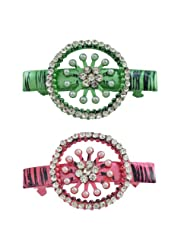 """AAKSHI """"Pearl Princess, Diamond Daughter"""" Set Of 2 Hair Clips In Emerald Green And Ruby Red Tones"""