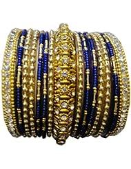 Shivam Blue Glass & Brass Bangle Set For Women - 2.4