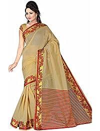 Royal Export Women's Cotton Silk Saree (Beige)