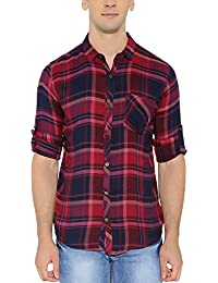 Nick&Jess Mens Red & Blue Flannel Checkered Slim Fit Shirt