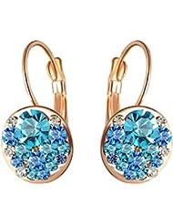 Aaishwarya 18K Rose Gold Plated Bling Blue Austrian Crystal Earring For Women & Girls