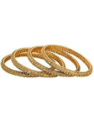 Adwitiya 24k Gold Plated Pure Antique Designed Traditional Bangle Set For Womens