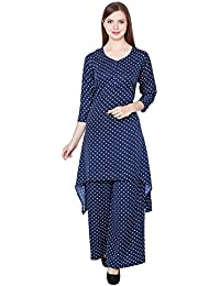 Polka Dot Print Pattern Regular Fit C-Cut Kurti With Plazo