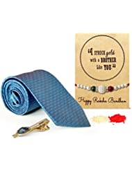 Tied Ribbons Special Rakhi Gifts For Brother Set Of(Designer Rakhi With Tie And Tie Pin)