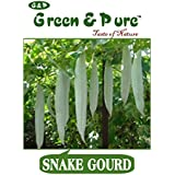 Green & Pure - High Yield Organic Vegetable Seeds - Snake Gourd - Pack Of 3 For Kitchen / Terrace / Home Garden