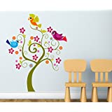 StickersKart Wall Stickers Tree With Cute Birds Coluorful Design For Kids Room Baby Room Decor (Wall Covering...