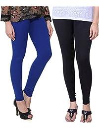 BONITO Women's Cotton Churidar Leggings Combo (Pack Of 2 Blue & Black) - Free Size