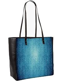 Blue Texture Obo, Shoulder Bag Tote Faux Leather Handbag Satchel Tote