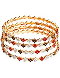 Camy Golden Metal Bangle Set With Green Red And White Stone For Women