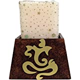 "Pyramid Shaped Brown Textured Wooden Candle Stand With A Gold Ganpati Motif: Home Décor - 4.5"" X 4.5"" X 5.75"""