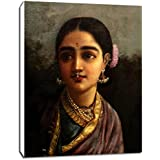 Radha In The Moonlight By Raja Ravi Varma - Portrait Collection - Small Size Premium Quality Gallery Wrapped Wall Art Print On Canvas (9 Inches X 12 Inches) For Home And Office Interior Decoration By Tallenge