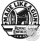 "Royal Enfield Made Like Gun … BLACK STICKER {BUY 2 GET 1 FREE} SIZE: 4.75 X 4.75"" INCH"