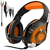 Orange : GM-1 Gaming Headset For PS4 Xbox One PC Tablet Cellphone, Stereo LED Backlit Headphone With Mic By AFUNTA-Orange
