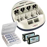 ANSMANN Energy 8 Plus Universal Battery Charger & Maintenance Station For AAA/AA/C/D/9V + Rechargeable AA Batteries...