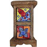 2 Drawer Handmade Chest Of Drawer Frame Multicolor Wooden Spice Box Masala Jar Rack Handmade Painting Pattern... - B01EFMOY4G
