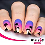 Whats Up Nails - Palm Nail Stencils Stickers Vinyls For Nail Art Design (2 Sheets, 40 Stickers & Stencils Total)