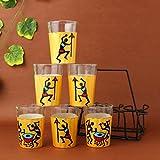 A Krazy Mug: Hand Painted Tapri Glasses - Zingalala Golden /// Tea Set , Chai Glasses , TeaSet, Tea Cups , Gifts...