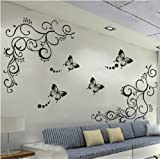 Amaonm Hot Fashion Removable Vinyl Diy Black Nursery Flowers Vine And Beautiful Butterfly Wall Corner Decals Wall...