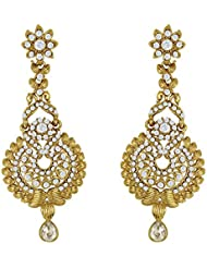 Traditional Ethnic Golden Peacock Dangler Earrings With Crystal For Women By Donna ER30004G