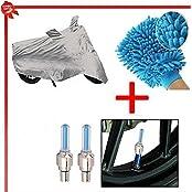 Benjoy Bike Body Cover Silver+Tyre Led Light Blue+Bike Cleaning Gloves For Bajaj Pulsar 150 DTS-i