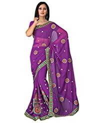 Sehgall Saree Indian Bollywood Designer Ethnic Professional Georgette Embroidery Fancy Saree Sari - B00OFO8P4K