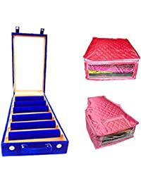 Atorakushon 6 Roll Rod Wodden Velvet Bangles Box With Clear Plastic Jewelry Storage Box With 1 Saree Cover 1 Blouse...