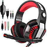 GM-2_Red : GM-2 Gaming Headset For PS4 Xbox One PC Laptop Smartphone Tablet Cell Phone, AFUNTA Stereo LED Headphone...
