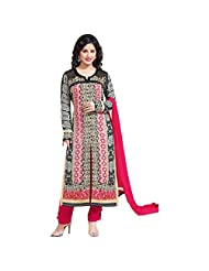 Multicolor Faux Georgette Designer Party Wear Straight Suit