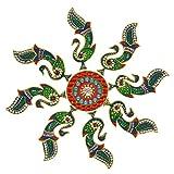 Creations 9 Piece Wooden Rangoli With Kundan Work RAN0003 (45 Cm * 45 Cm * 0.5 Cm)