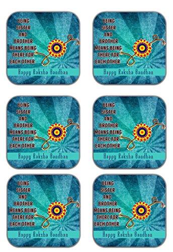 MeSleep Rakhi Wooden Coaster-Set Of 6 - B013LERX3I