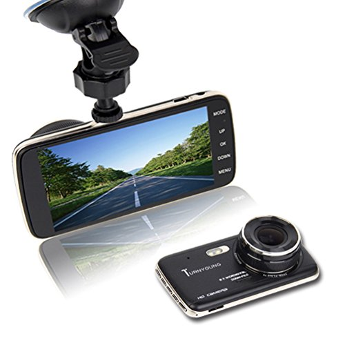TURNYOUNG 4″ Car Dash cam-Dashboard Camera with HD1080 G-Sensor WDR 155Degree Angle Night Vision and 8GB Class10 TF Card