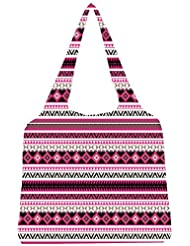 Snoogg Loud Aztec Pink And Black Womens Jhola Shape Tote Bag