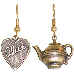 Nickel Free Alice in Wonderland Tea Party Earrings, Quality Made in USA!, in Antique Brass
