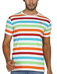 Paani Puri Men's Round Neck Cotton Blended T-Shirt (S Blue)
