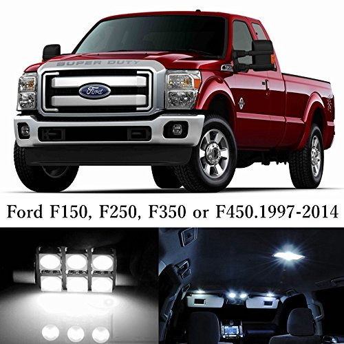 13pcs LED Premium Xenon White Light Interior Package Deal for Ford F150 F250 F350 1997-2015